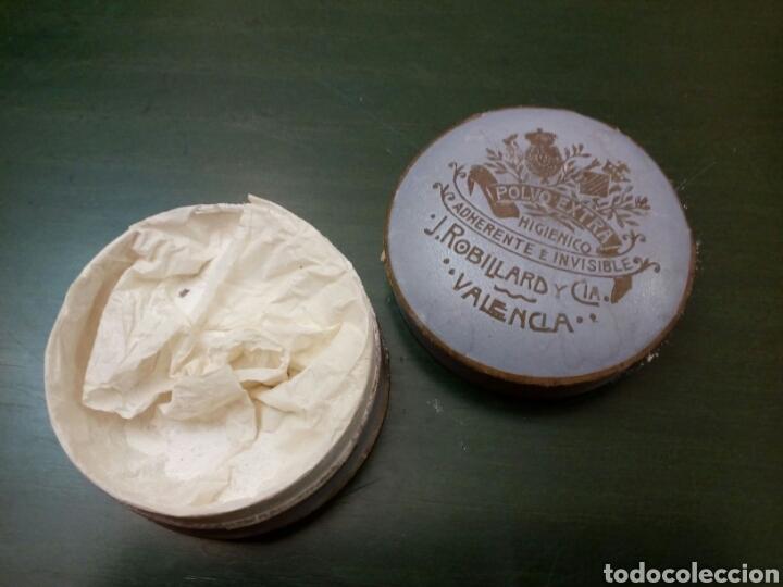 Antigüedades: Caja de Polvos higienicos J.Robillard y cia Valencia siglo XX - Foto 3 - 146431889