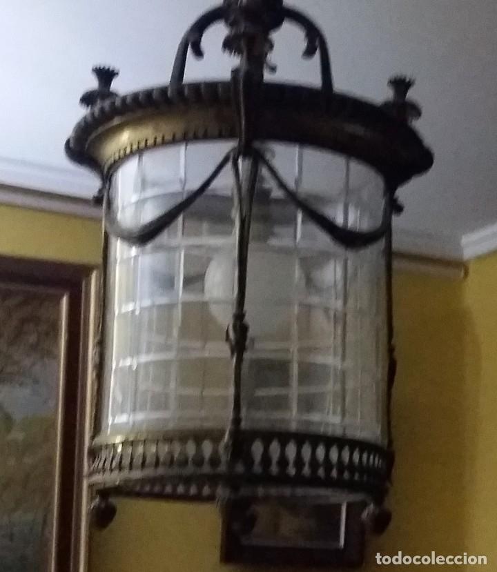 LAMPARA FAROL DE BRONCE Y CRISTAL CURVADO EN 1 PIEZA (Antigüedades - Iluminación - Faroles Antiguos)