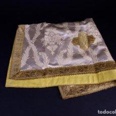 Antigüedades: ANTIGUO LIENZO DE SEDA BLANCO CON BORDADOS ORO. Lote 146505230