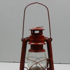 Antigüedades: ANTIGUO QUINQUE LAMPARA DE GAS CRISTAL COLOR ROJO BUEN ESTADO BONITA DECORACIÓN. Lote 146526882