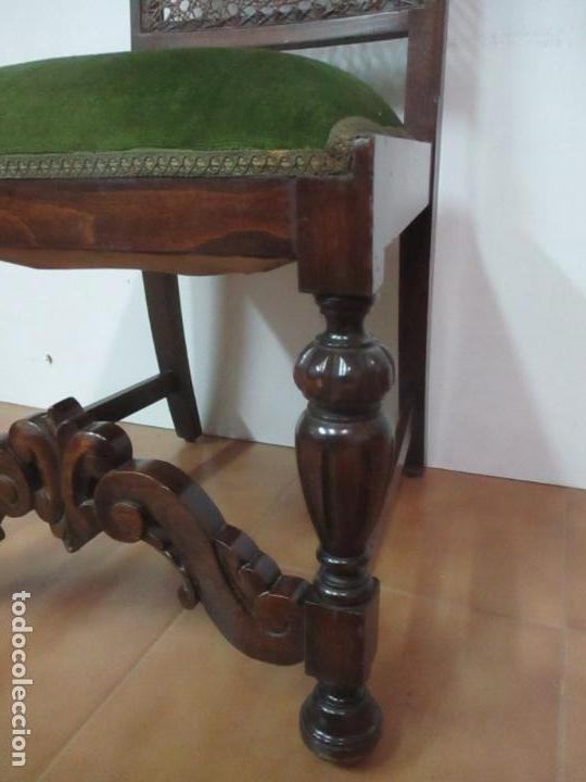 Antigüedades: Pareja de Sillas - Madera de Haya, Tallada y Torneada - Tapicería en Terciopelo y Rejilla, Perfecta - Foto 5 - 146527370