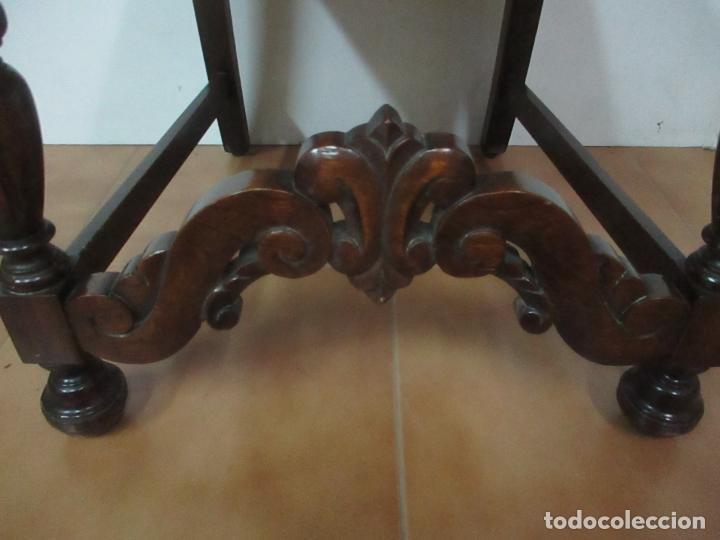 Antigüedades: Pareja de Sillas - Madera de Haya, Tallada y Torneada - Tapicería en Terciopelo y Rejilla, Perfecta - Foto 6 - 146527370