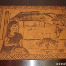 Antigüedades: TAPIZ DE LA SELVA AMAZÓNICA, PINTADO A MANO, 97 X 75 CM. Lote 146559546