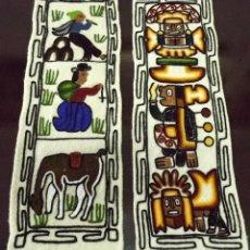 Antiques - 2 tapices bordados de Perú, 56 x 19 y 53 x 17 cm - 146560806
