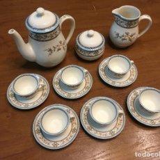 Antigüedades: ANTIGUO JUEGO DE CAFÉ O TE EN PORCELANA SELLO SAN CLAUDIO MODELO CEILAN. 6 SERVICIOS. Lote 146564870