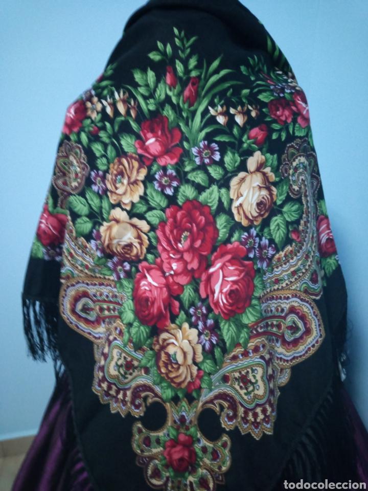 Antigüedades: Pañuelo manton tipo ruso a estrenar - Foto 2 - 146604428