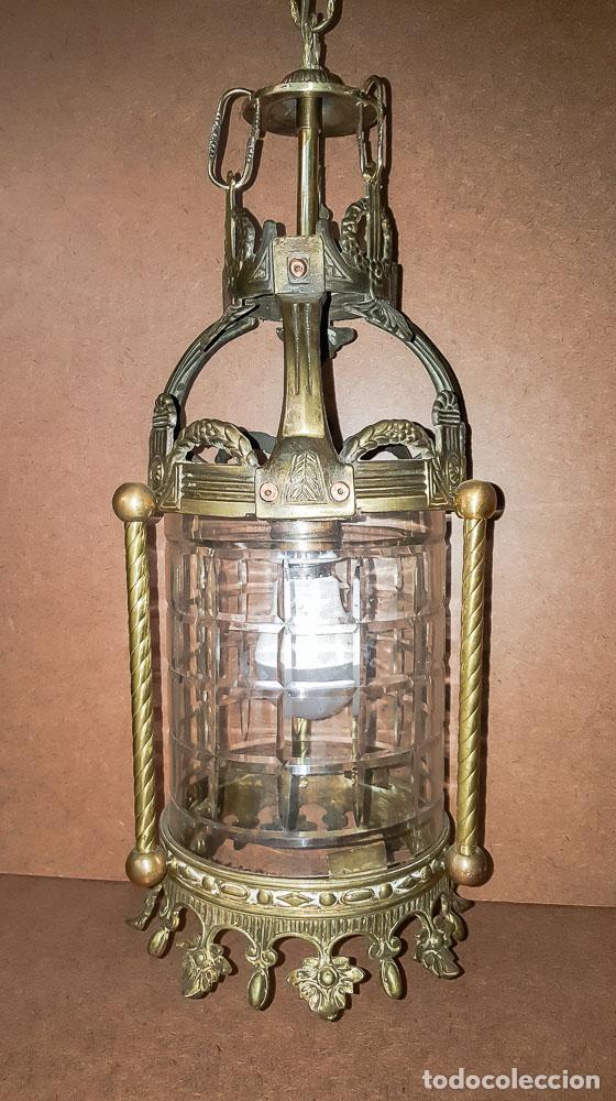 FAROL, LAMPARA MODERNISTA EN BRONCE Y CRISTAL TALLADO,ELECTRIFICADA (Antigüedades - Iluminación - Faroles Antiguos)
