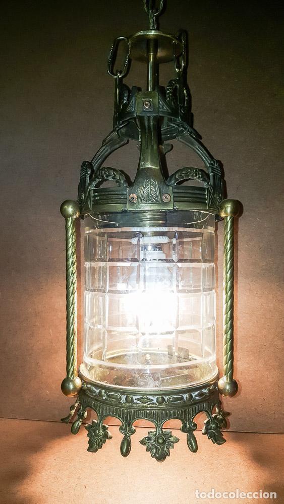 Antigüedades: FAROL, LAMPARA MODERNISTA EN BRONCE Y CRISTAL TALLADO,ELECTRIFICADA - Foto 2 - 146612826