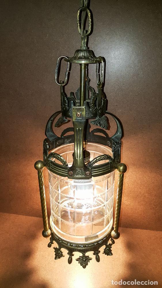 Antigüedades: FAROL, LAMPARA MODERNISTA EN BRONCE Y CRISTAL TALLADO,ELECTRIFICADA - Foto 3 - 146612826