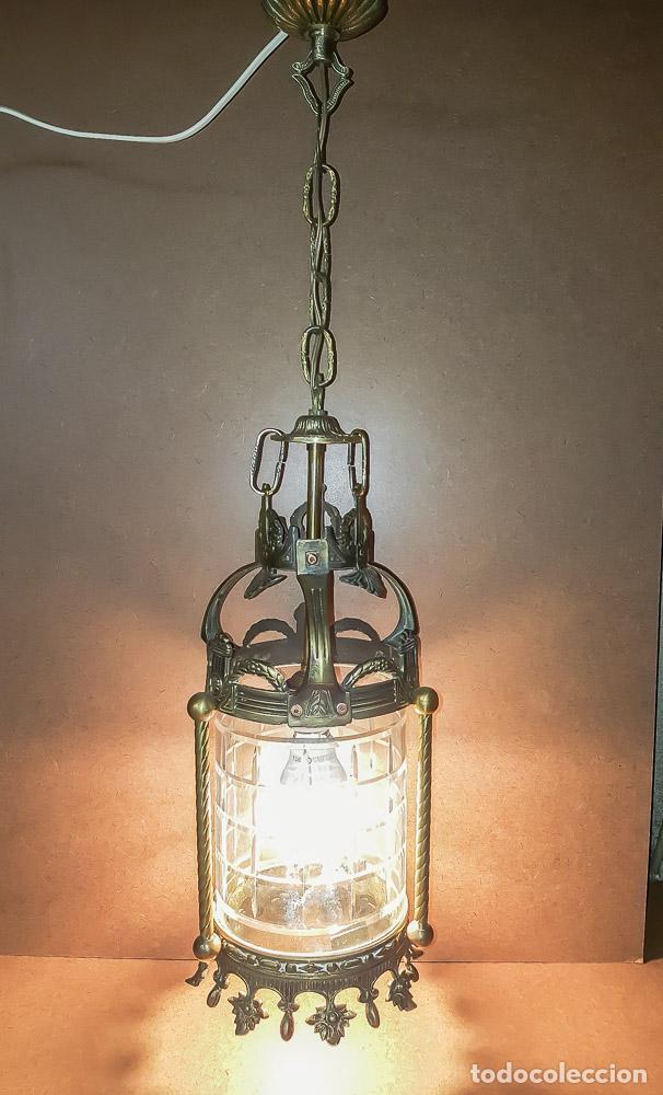 Antigüedades: FAROL, LAMPARA MODERNISTA EN BRONCE Y CRISTAL TALLADO,ELECTRIFICADA - Foto 4 - 146612826