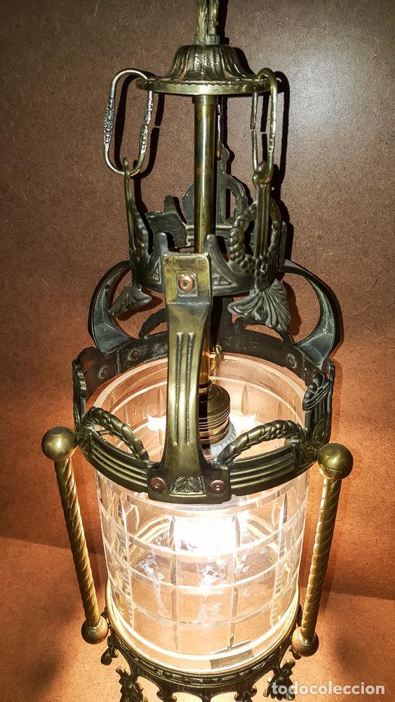 Antigüedades: FAROL, LAMPARA MODERNISTA EN BRONCE Y CRISTAL TALLADO,ELECTRIFICADA - Foto 6 - 146612826