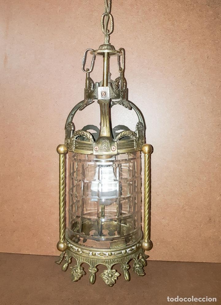 Antigüedades: FAROL, LAMPARA MODERNISTA EN BRONCE Y CRISTAL TALLADO,ELECTRIFICADA - Foto 7 - 146612826