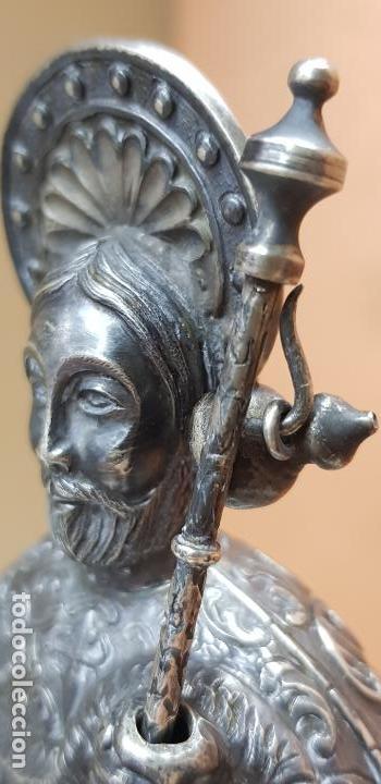 Antigüedades: Figura de santiago apostol de plata de ley con pedestal - Foto 2 - 146614962