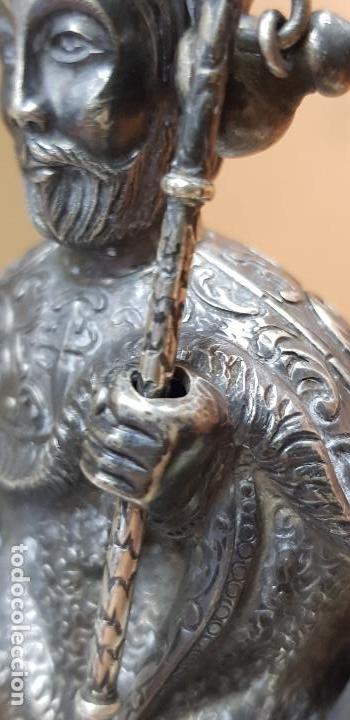 Antigüedades: Figura de santiago apostol de plata de ley con pedestal - Foto 3 - 146614962