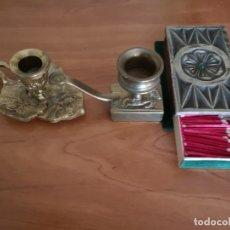 Antigüedades: PORTAVELAS BRONCE. Lote 138956990