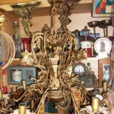 Antigüedades: ANTIGUA LAMPARA DE TECHO EN BRONCE DE 6 BRAZOS-FUNCIONA. Lote 146635962