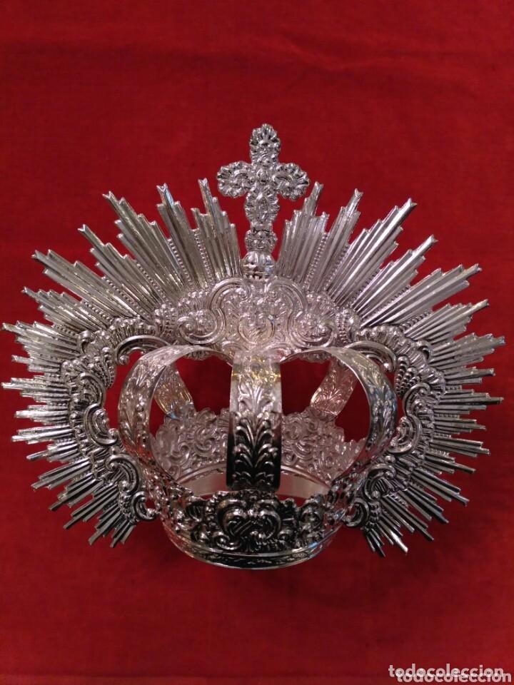 Antigüedades: Corona imperial de Virgen, baño de plata 9 cm diámetro(nuevo) - Foto 5 - 146636830