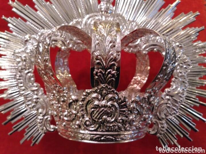 Antigüedades: Corona imperial de Virgen, baño de plata 9 cm diámetro(nuevo) - Foto 6 - 146636830