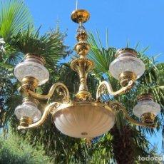 Antigüedades: PRECIOSA LAMPARA DE BRONCE Y CRISTAL. Lote 146639790