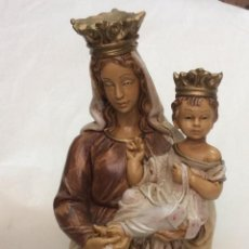 Antigüedades: BONITA IMAGEN DE LA VIRGÉN CON EL NIÑO JESUS EN RESINA POLICROMADA. Lote 146643594