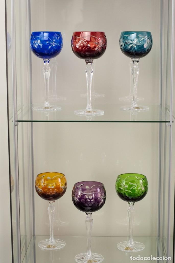 Antigüedades: Copas NUevas de Colección Talladas a mano- Bohemia Juego de 6 o por unidad - Foto 4 - 146674258