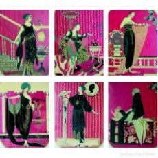 EXTRAORDINARIO LOTE 6 VIDRIOS ART DECO MUJERES TRAJES. PRIMERA MITAD 1900. TAMBIEN VENTA SUELTOS