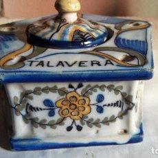 Antigüedades: TINTERO CERAMICA TALAVERA ( TOLEDO ) CON MARCA PR. S XX. Lote 146704678