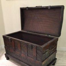 Antigüedades: EXCELENTE BAUL DE VIAJE RESTAURADO. Lote 146738602
