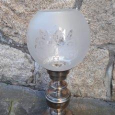 Antigüedades: LÁMPARA DE SOBREMESA ALPACA PLATEADA SILVER GEMA#AÑOS 50/60#ESTILO LUÍS XVI*. Lote 146740770