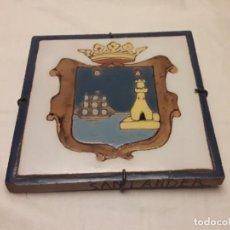 Antigüedades - Precioso azulejo escudo de Santander cerámica Triana Sevilla - 146744366