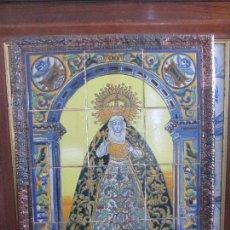 Antigüedades: RETABLO CERAMICO AZULEJOS MACARENA. Lote 146809010