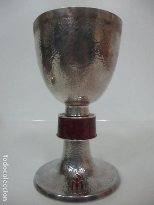 Antigüedades: Cáliz de Plata con Contrastes y Esmalte -Interior del Cáliz Dorado -Patena y Caja (Estuche) Original - Foto 7 - 152021761