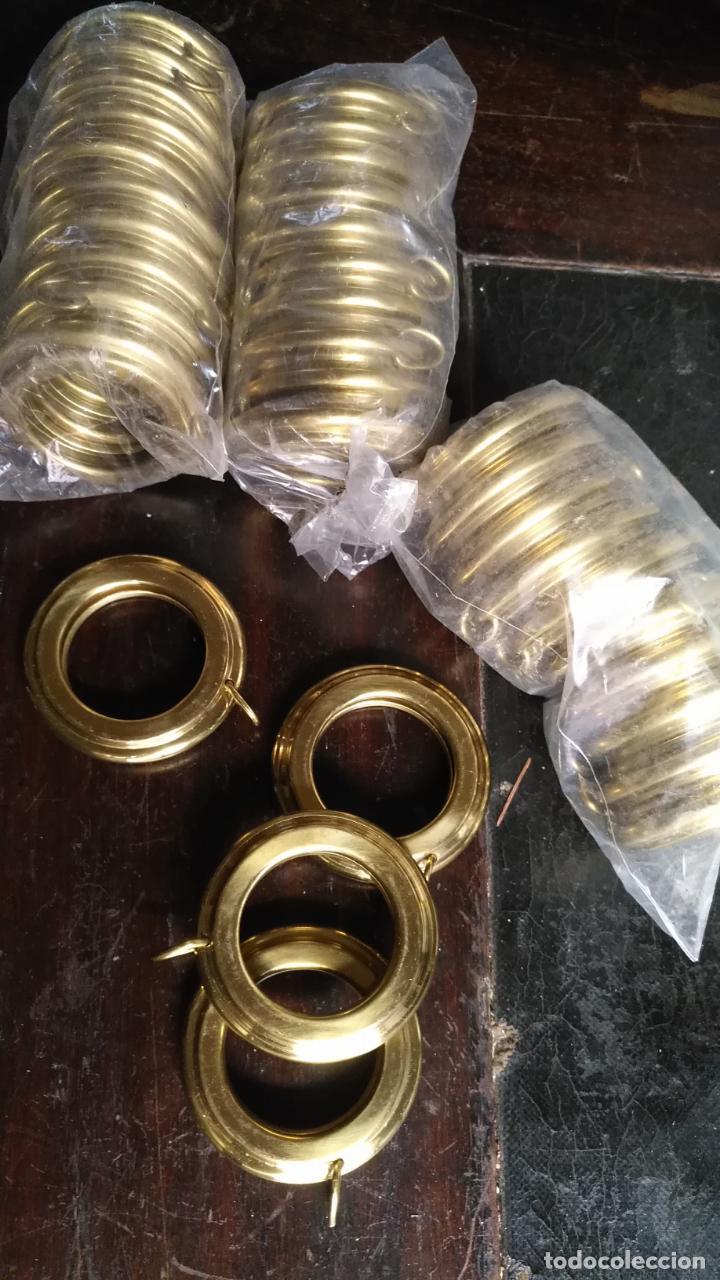 Antigüedades: 10 anillas de cortinas - nunca usadas, buen estado - metal cortinero DECORACION - DORADAS - ARGOLLAS - Foto 3 - 175563977