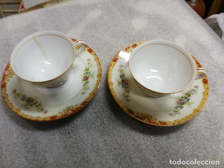 ANTIGUA PAREJA DE TAZAS Y PLATOS DE TE DE PORCELANA TAJIMI JAPON, COMACHADO PAMAKA (Antigüedades - Porcelana y Cerámica - Japón)