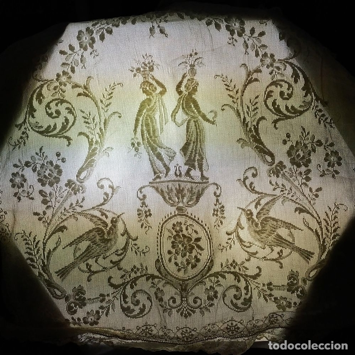 Antiquitäten: FUNDA DE COJÍN. BORDADO MECÁNICO SOBRE RED. BOTONES NÁCAR. ESPAÑA. SIGLO XIX - Foto 11 - 146868902
