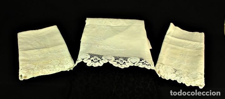 Antigüedades: t2 Sábana algodón grueso y lino, iniciales VP encaje de bolillo - Foto 2 - 146871050