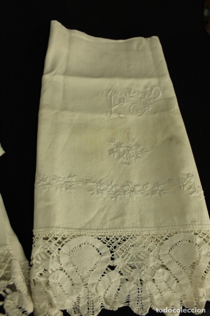 Antigüedades: t2 Sábana algodón grueso y lino, iniciales VP encaje de bolillo - Foto 5 - 146871050