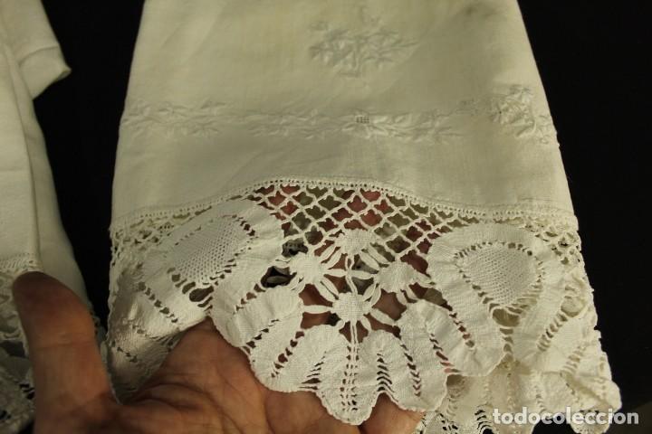 Antigüedades: t2 Sábana algodón grueso y lino, iniciales VP encaje de bolillo - Foto 6 - 146871050