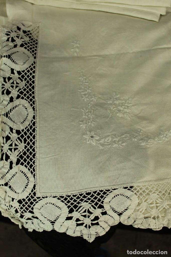 Antigüedades: t2 Sábana algodón grueso y lino, iniciales VP encaje de bolillo - Foto 9 - 146871050
