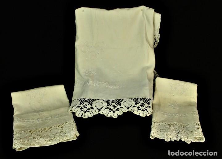 Antigüedades: t2 Sábana algodón grueso y lino, iniciales VP encaje de bolillo - Foto 10 - 146871050