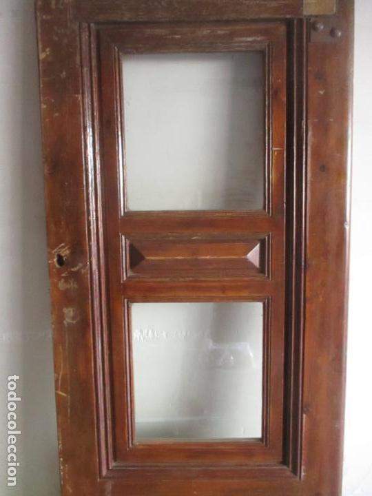 Antigüedades: Antigua Puerta, Portón - Madera de Pino - Cristal - Ancho 107 cm - Altura - 220,5 cm - S. XIX - Foto 5 - 146906730