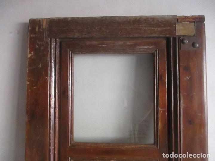 Antigüedades: Antigua Puerta, Portón - Madera de Pino - Cristal - Ancho 107 cm - Altura - 220,5 cm - S. XIX - Foto 10 - 146906730