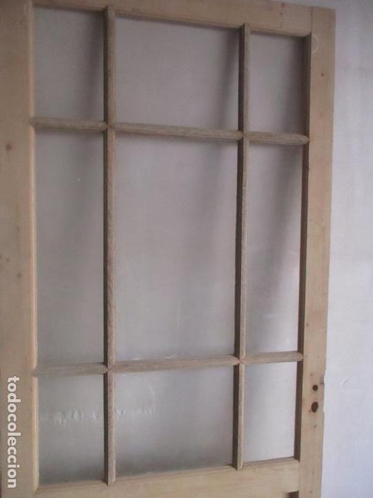 Antigüedades: Antigua Puerta - Madera de Pino - Cristal - Ancho 99 cm - Altura - 224,5 cm - S. XIX - Foto 14 - 146907522