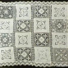 Antigüedades: ANTIGUO MANTEL DE LINO Y ENCAJES - S. XIX. Lote 146912554