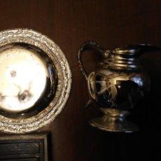Antigüedades: JARRON Y PLATO METAL PLATEADO Y PLATO JARRONCITO 5,5 CM PLATITO 8 CM APROXIMADOS ANTIGUOS AÑOS 80 . Lote 146917654