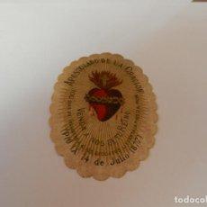 Antigüedades: ESCAPULARIO DETENTE .. EL SAGRADO CORAZÓN ESTÁ CONMIGO ... 7 CM.. Lote 146935382