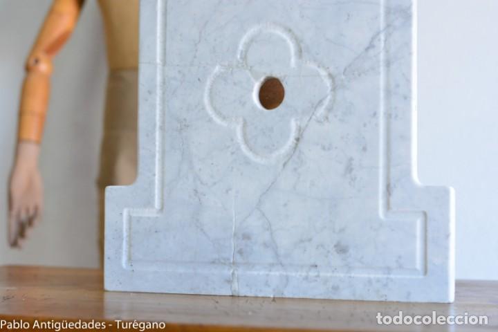 Antigüedades: Frontal realizado en mármol blanco para fuente o lavabo - Adorno, ornamento, cubierta, copete, flor. - Foto 2 - 146960822
