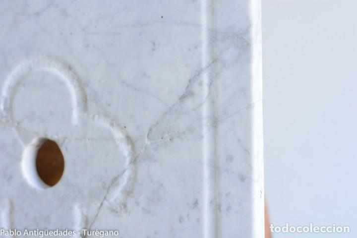 Antigüedades: Frontal realizado en mármol blanco para fuente o lavabo - Adorno, ornamento, cubierta, copete, flor. - Foto 3 - 146960822
