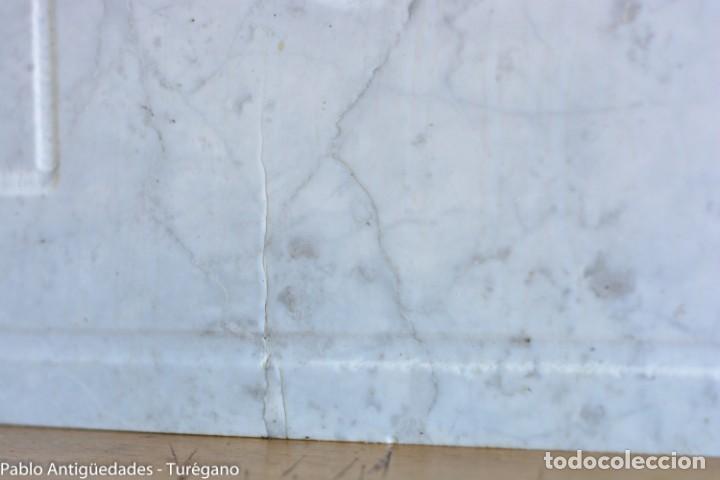 Antigüedades: Frontal realizado en mármol blanco para fuente o lavabo - Adorno, ornamento, cubierta, copete, flor. - Foto 6 - 146960822
