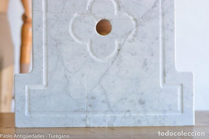Antigüedades: Frontal realizado en mármol blanco para fuente o lavabo - Adorno, ornamento, cubierta, copete, flor. - Foto 7 - 146960822